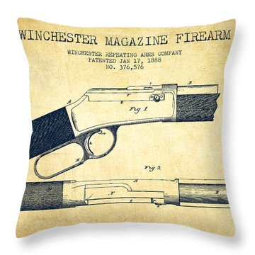 Winchester Firearm Patent Drawing From 1888- Vintage Throw Pillow by Aged Pixel