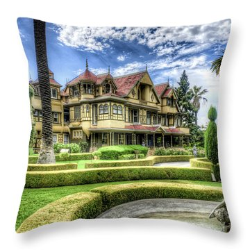 Throw Pillow featuring the photograph Winchester Mystery House by Jim Thompson