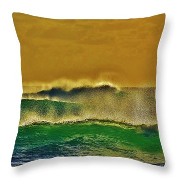 Wind And Emerald Waves Throw Pillow