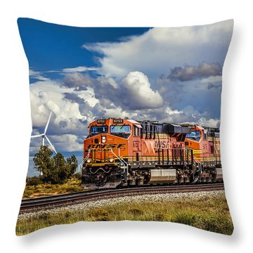 Wind And Rail Throw Pillow by Fred Larson
