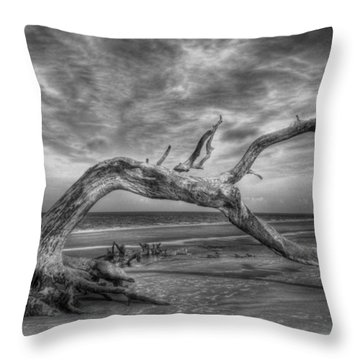 Wind Bent Driftwood Black And White Throw Pillow by Greg and Chrystal Mimbs