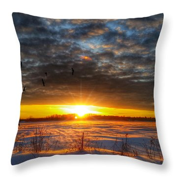 Wind Blown Sunset Throw Pillow
