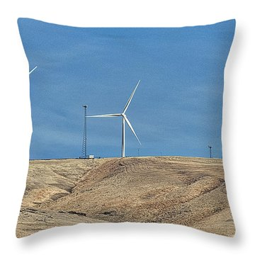 Wind Farm And Cell Towers Throw Pillow by Ron Roberts