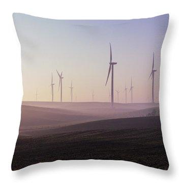 Wind Farm At Dawn Throw Pillow