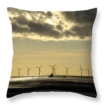 Wind Farm At Sunset Throw Pillow