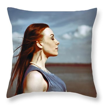 Wind In Her Hair Throw Pillow by Craig B