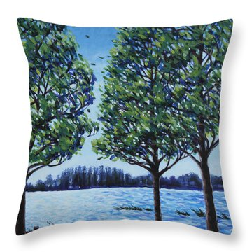 Throw Pillow featuring the painting Wind In The Trees by Penny Birch-Williams