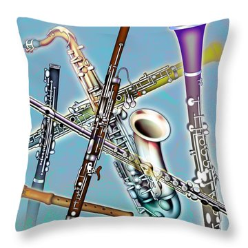Wind Instruments Throw Pillow by Design Pics Eye Traveller