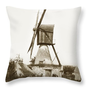Throw Pillow featuring the photograph Wind Mill In France 1900 Historical Photo by California Views Mr Pat Hathaway Archives