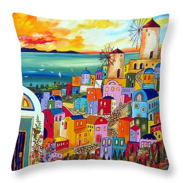 Wind Mills In Greece Throw Pillow
