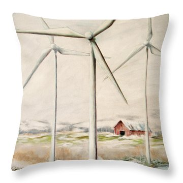 Wind Mills In Snow Country Throw Pillow
