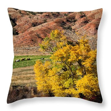 Wind River Horse Ranch In Autumn Throw Pillow
