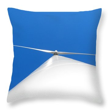 Wind Turbine Blue Sky Throw Pillow