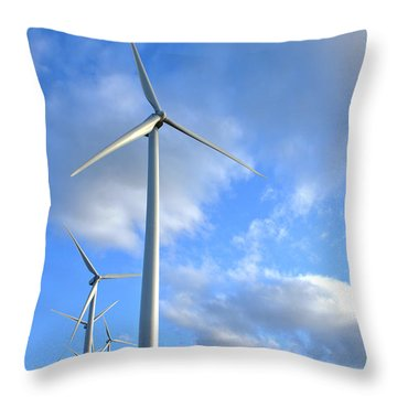 Wind Turbine Farm Throw Pillow by Olivier Le Queinec