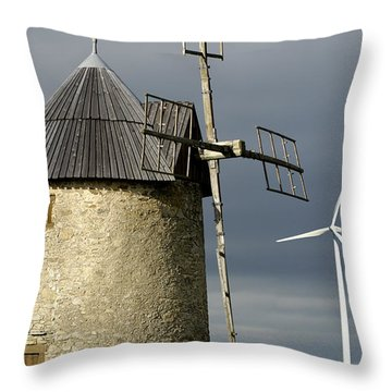 Wind Turbines And Windfarm Throw Pillow by Bernard Jaubert