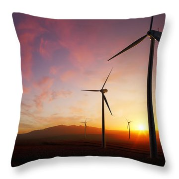 Wind Turbines At Sunset Throw Pillow