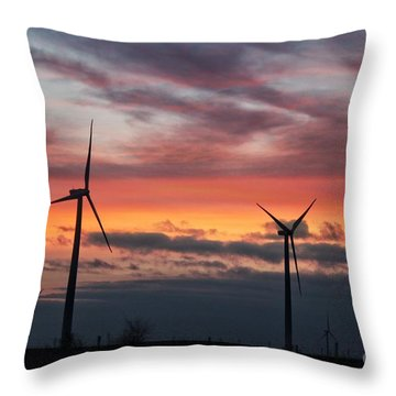 Wind Turbines Sunset  Throw Pillow