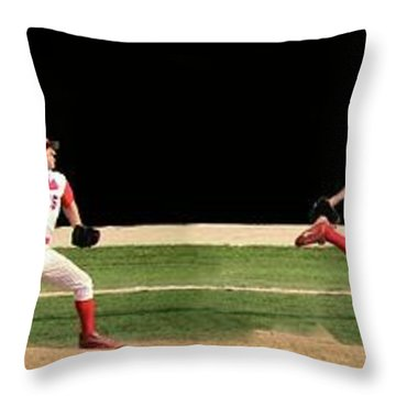 Wind Up And Delivery 4 Panel Composite Digital Art Throw Pillow by Thomas Woolworth