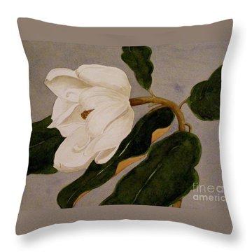 Windblown Magnolia Throw Pillow by Nancy Kane Chapman