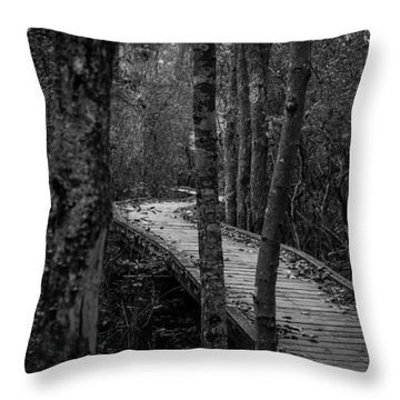 Winding Bridge In The Woods Throw Pillow