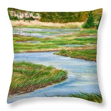 Winding Waters - Cape Salt Marsh Throw Pillow by Michelle Wiarda