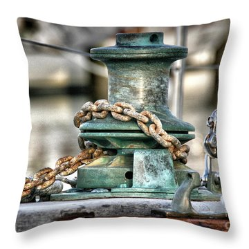 Throw Pillow featuring the photograph Windlass And Chain by Phil Mancuso