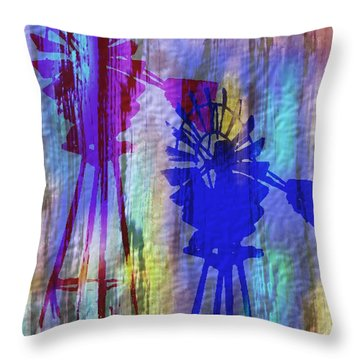 Windmill Abstract Painting Throw Pillow by Judy Filarecki