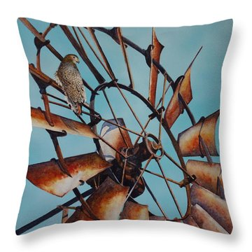 Windmill And Hawk Throw Pillow