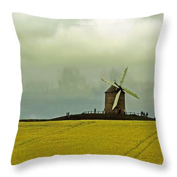 Windmill And Rapeseed And Storm Throw Pillow