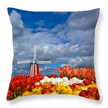 Windmill And Tulips Throw Pillow by Patricia Davidson