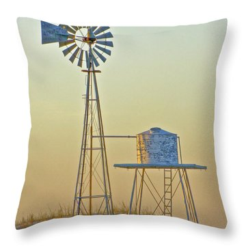 Windmill At Dawn 2011 Throw Pillow
