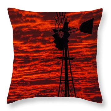 Windmill At Sunset Throw Pillow by Rob Graham