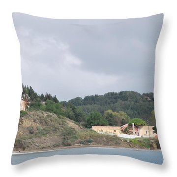 Windmill Built 1830 Throw Pillow by George Katechis