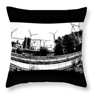 Windmill Farm Throw Pillow by Gerry Robins
