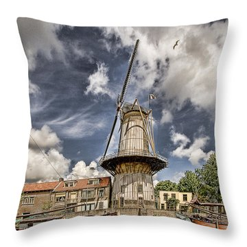 Windmill Throw Pillow by Hugh Smith