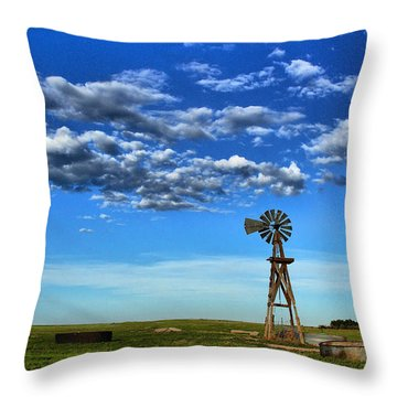Windmill In Blue Throw Pillow by Steven Reed