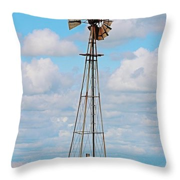Windmill In Canola Field Throw Pillow