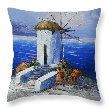 Windmill In Greece Throw Pillow