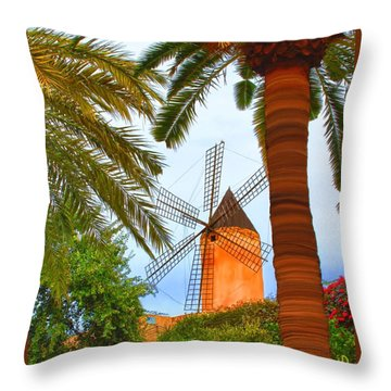 Throw Pillow featuring the painting Windmill In Palma De Mallorca by Deborah Boyd