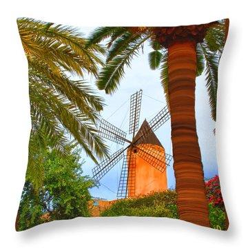 Windmill In Palma De Mallorca Throw Pillow