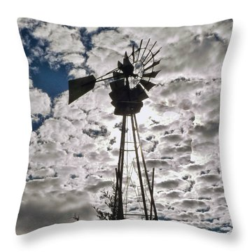 Throw Pillow featuring the digital art Windmill In The Clouds by Cathy Anderson
