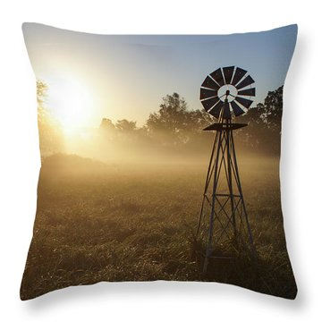 Windmill In The Fog Throw Pillow