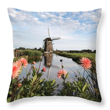 Windmill Landscape In Holland Throw Pillow