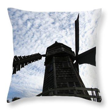 Throw Pillow featuring the photograph Windmill On A Cloudy Day by William Selander
