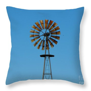 Windmill On Blue Sky Throw Pillow by Erick Schmidt
