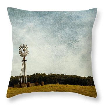 Windmill On The Farm Throw Pillow by Beverly Stapleton