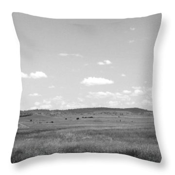 Windmill On The Plains - Black And White Throw Pillow by Justin Woodhouse