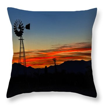 Windmill Silhouette Throw Pillow by Robert Bales