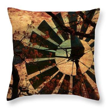 Windmill Through The Oak Throw Pillow