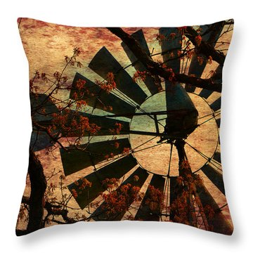 Windmill Through The Oak Throw Pillow